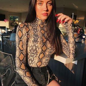 Tops - Snakeskin long sleeve bodysuit
